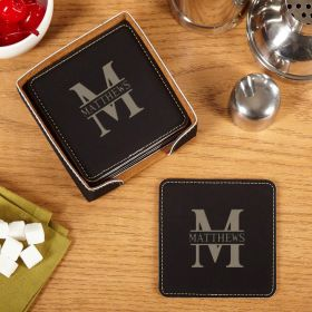 Oakmont Engraved Faux-Leather Coaster Set