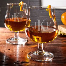 Blackwood Classic Monogram Hurricane Glasses, Set of 2
