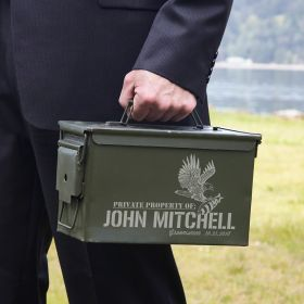 Patriotic Defender Personalized Ammo Box Can
