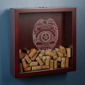Police Badge Wine Cork Shadow Box for Officers