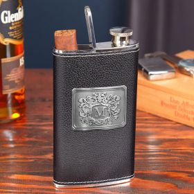 Black Authentic Leather 2-in-1 Cigar Flask