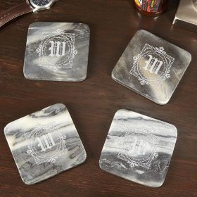 Winchester Personalized Marble Coasters, Set of 4