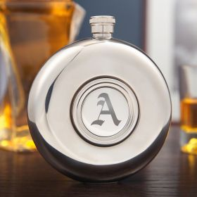 Hideaway Round Hip Flask and Shot Glass (Engravable)