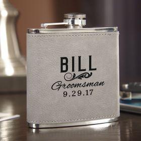 Classic Groomsman Slate Gray Personalized Flask