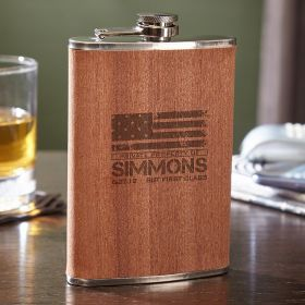 American Heroes 8 oz Flask with Natural Wood