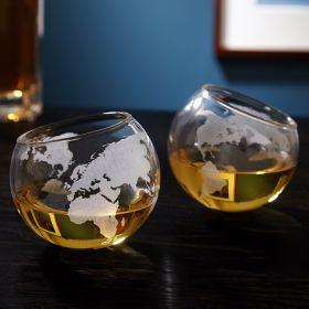 Continental World Globe Rolling Rocks Glasses, Set of 2