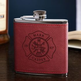 Firefighter Maltese Cross Personalized Red Flask