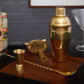 Ridgemont Gold Bar Tool Set and Cocktail Shaker (Engravable)