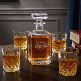 Bedingfeld Monogrammed Liquor Decanter and Glasses Set