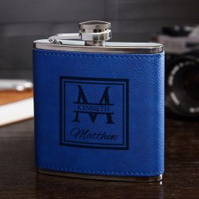 Oakhill Monogram Cobalt Blue Flask