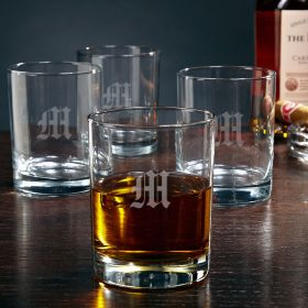 Eastham Single Initial Whiskey Rocks Glasses, set of 4