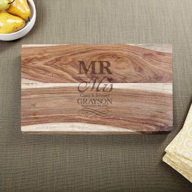 Exotic Hardwood Wedding Day Personalized Cutting Board