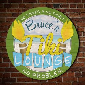 No Shoes No Problem Personalized Tiki Lounge Sign