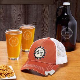 Beer Gears Snapback Cap with Bottle Opener & Custom Glassware for Bike Lovers