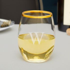 Custom Etched Stemless Wine Glass with Gold Rim
