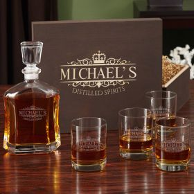 Kensington Custom Decanter Set with Engraved Wooden Gift Box