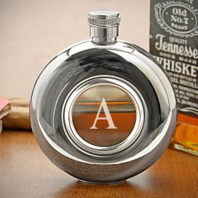 Whiskey Window Engravable Hip Flask