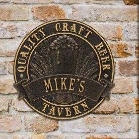 Quality Craft Beer Tavern Custom Round Plaque - 7 Color Options