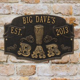 Established Bar Personalized House Plaque - 7 Color Options