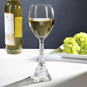 Vintage Eiffel Tower White Wine Glass
