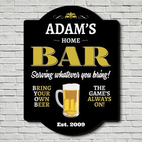 Home Bar Personalized Man Cave Sign