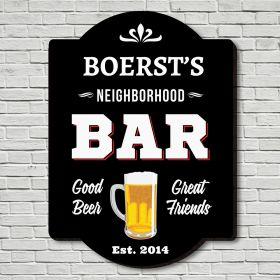 Personalized Neighborhood Bar Sign