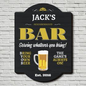 BYOB Personalized Pub Sign