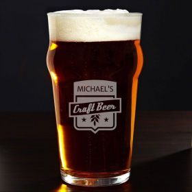 Craft Beer Personalized English Pub Glass
