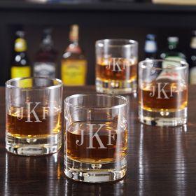 Bryne Classic Monogram Whiskey Glasses, Set of 4
