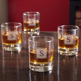 Bryne Block Monogram Whiskey Glasses, Set of 4
