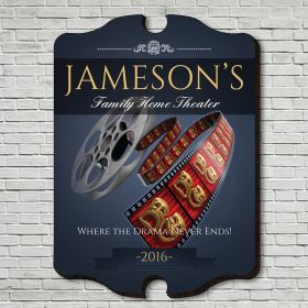 Family Movie Time Personalized Home Theater Sign