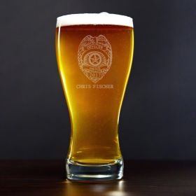 Police Badge Personalized Pilsner Glass