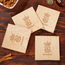 King of Drinks Custom Wood Coasters, Set of 4