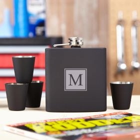 Blackout Block Monogram Hip Flask Set