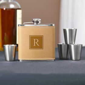 Cocoa Leather Block Monogram Hip Flask Set