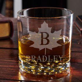 Maple Leaf Engraved Buckman Whiskey Glass