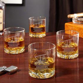 Buckman Personalized Oilfield Whiskey Glasses, Set of 4