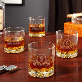 Canton Personalized Monogrammed Whiskey Glasses Set