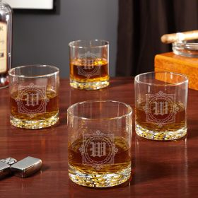 Winchester Monogram Etched Whiskey Glasses, Set of 4