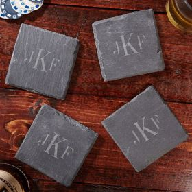 Classic Monogrammed Slate Drink Coasters