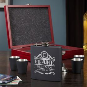 Rockefeller Engraved Flask Gift Set
