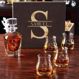 Oakmont Glencairn Glass Set with Draper Decanter and Gift Box
