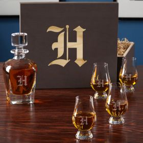 Single Initial Whiskey Set with Glencairn Glasses and Wood Gift Box