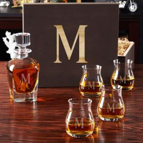 Personalized Liquor Decanter Set with Wide-Bowl Glencairn Glasses