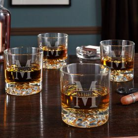 Oakmont Personalized Fairbanks Whiskey Glasses, Set of 4