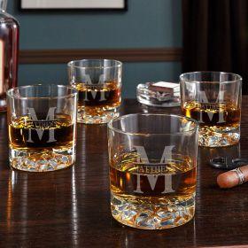 Oakmont Personalized Fairbanks Whiskey Glasses, Set of 4