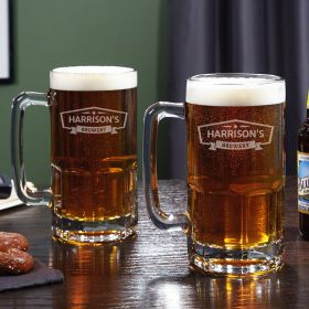Colossal Classic Brewery Personalized Beer Mugs, Set of 2