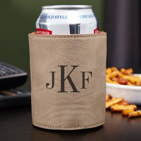 Classic Monogram Personalized Can Cooler, Sand