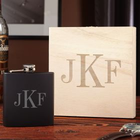 Classic Monogram Personalized Flask with Wooden Gift Box