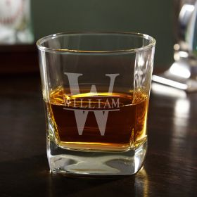 Oakmont Monogrammed Square Rocks Glass